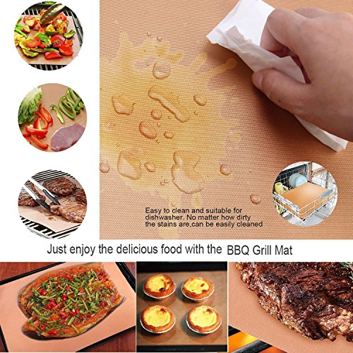 Copper Grill Mat and Bake Mat Set of 5 Non Stick BBQ Grill & Baking Mats – Reusable, Easy to Clean – PTFE Teflon Fiber Grill Roast Sheets for Gas, Charcoal, Electric Grill (Gold)