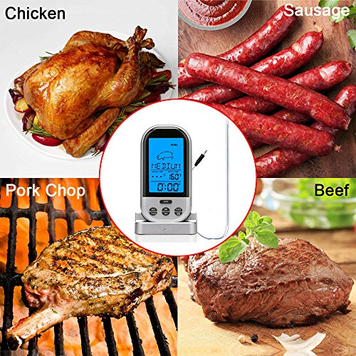 Lomanda Digital Instant Read Meat Thermometer, Wireless Cooking Thermometer with Time Alert Backlight Stainless Steel Temperature Probe for Kitchen Smoker Oven BBQ Grill Thermometer(Silver)