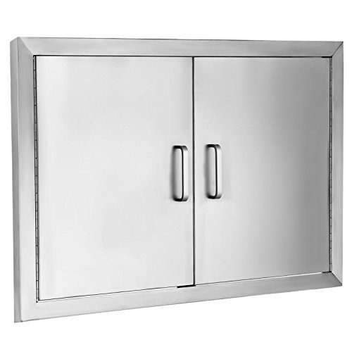 Mophorn Double Wall BBQ Access Door Cutout 31″ Width x 24″ Height BBQ Island Door w/Brushed Stainless Steel Perfect for Outdoor Kitchen or BBQ Island