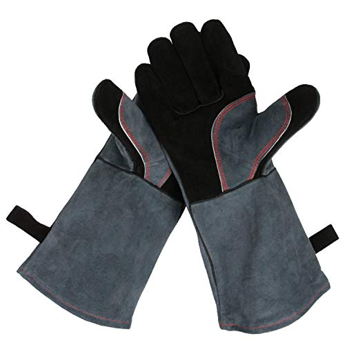 Upgraded Leather Forge Welding Gloves – 932°F Fire/Heat Resistant Glove with Long Sleeve for Grill/Pot Holder/TIG Welder/MIG/Stove/Fireplace/BBQ – Five Fingers and Loose for Men and Women (16 inches)