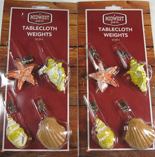 Set of 8 Sea Shell Tablecloth Weights Secure Outdoor Tablecloth From Breezes