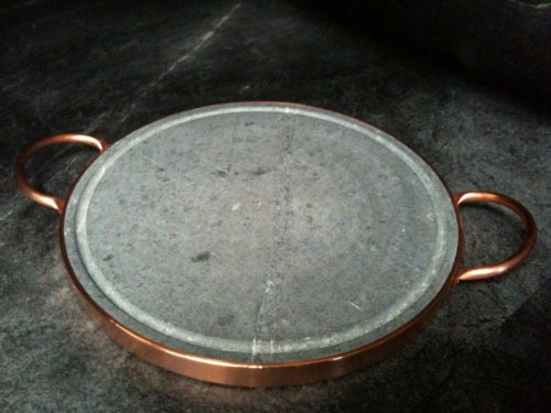 Specialty Cookware : For Grilling and Neapolitan Pizza Enthusiasts – Brazilian Soapstone Grill Pizza Pan Copper Handles : Natural Non-Stick and Non-Toxic Stone Cookware