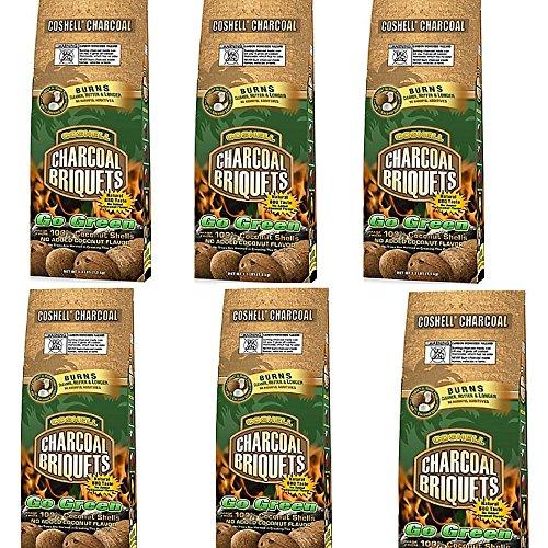 Coshell Charcoal COSR33 Coconut Briquettes, 3.3-Pound (6)