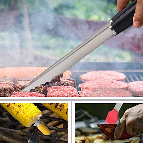 WOLFWILL 5-Piece BBQ Grill Tools Set – Heavy Duty Stainless Steel Barbecue Grilling Utensils Grill Accessories with Spatula, Tong, Meat Fork, Corn Fork and Basting Brush