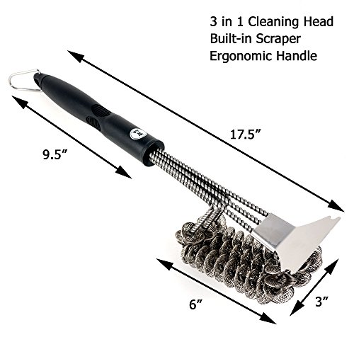 "Grill Brush Bristle Free: PLUS 2 Copper Grill Mats – A ""Grate"" Grill Accessories Gift Idea – Bristle Free Grill Brushes Non Stick Grill Mat – BBQ Accessories – BBQ Brushes – Wireless Grill Scraper"