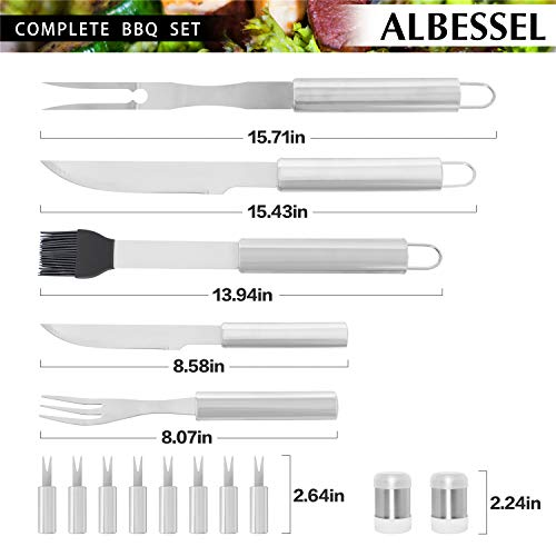 Albessel 33 Pieces Professional BBQ Grill Tool Set with Aluminium Case – Heavy Duty Stainless Steel Barbecue Accessories – Outdoor Camping Utensils Kit with Glove and Apron