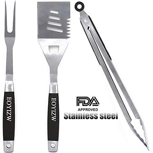 EOYIZW Grill Tool Set Stainless Steel Grilling Tools Set Heavy Duty BBQ Accessories Extra Thick Barbecue Utensils Spatula, Fork,Tongs