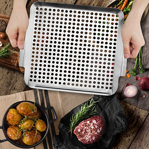 Grill Pan, Stainless Steel Grill Topper Heavy Duty BBQ Grill Wok with Handles Vegetables Grill Basket Outdoor Grill Accessories Cookware Grill Utensils for Barbecue Cooking