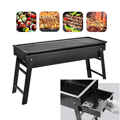 bestlovealex Barbecue Charcoal Grill, Stainless Steel, Folding Charcoal Grill, Portable BBQ Grill Tool for Outdoor Camping Hiking Cooking Picnics – 23.6″ x 8.07″ x 13″