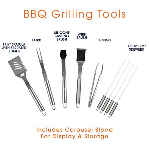 BBQ Utensil Set for Grilling | Professional Grade Stainless Steel 10 Piece Barbecue Grill Tools Set with Storage Carousel – Includes 4-in-1 Spatula Turner, Tongs and other bbq Accessories