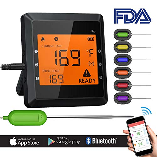 Bluetooth Meat Thermometer, Instant Read Cooking Thermometer with 6 Probes, APP WIFI Remote, Alarm Monitor for Cooking Smoker BBQ Kitchen Oven, Support IOS & Android