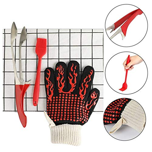 3Pcs Barbecue Grill Tools Set,Heavy Duty Stainless Steel BBQ Tong,Silicone Basting Brush&Heat Resistant Barbecue Grilling Glove,BBQ Utensil Kit Serving for Kitchen Cooking Baking Grilling (Red)