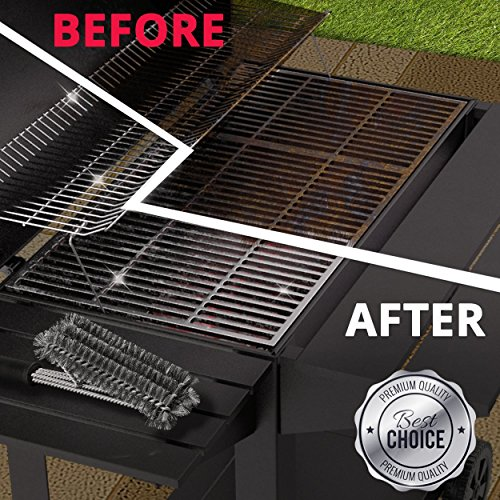 PORT Stainless Steel BBQ & Grill Brush Scraper Tool | Long 18″ Handle, Rust Proof & Durable Bristles For Oven Griddle, Iron Grates, Enamelled Surfaces & More | Remove Grease, Sticky Residues & Grime