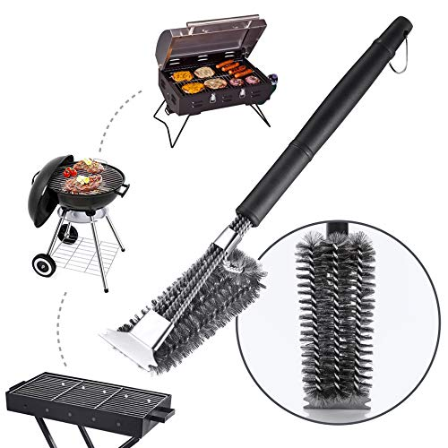 Premium Grill Cleaning Brush: Stainless Steel BBQ Cleaner Brush & Scraper| Sturdy Woven Wire Bristles & Nonslip Handle Barbecue Grill Accessory|Weber Gas/Charcoal Grill Cleaning Tool|Top Gifting Idea
