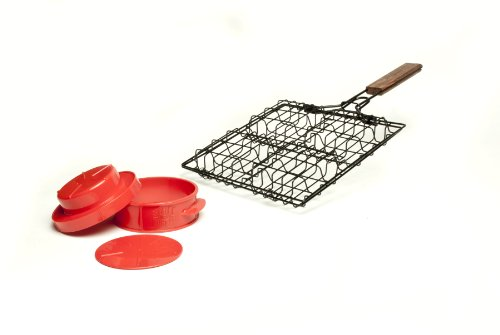 Charcoal Companion CC7308 Stuff-A-Burger 2 Piece Basket and Press Set