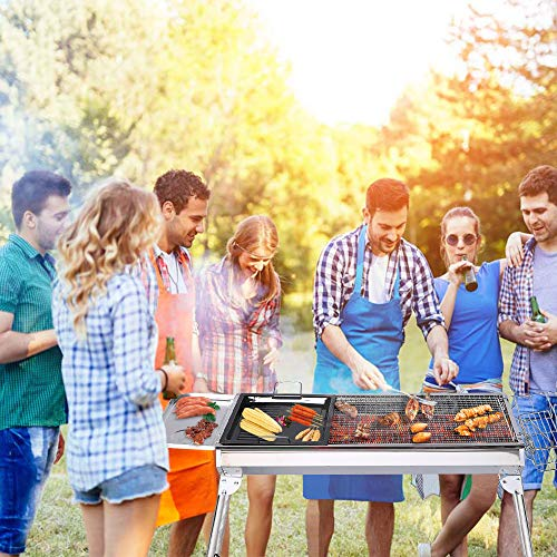 ISUMER Portable Folding Charcoal BBQ Grill – Stainless Steel Thickened Barbeque Grill for Home Garden Backyard Tailgate Party Camping Picnic Cooking
