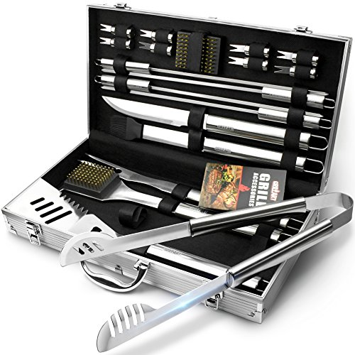 GRILLART BBQ Grill Utensil Tools Set Reinforced BBQ Tongs 19-Piece Stainless-Steel Barbecue Grilling Accessories with Aluminum Storage Case -Complete Outdoor Grill Kit for Dad, Birthday Gift for Man