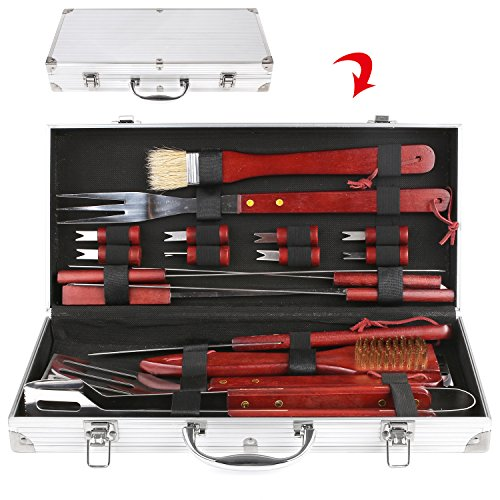 femor BBQ Grill Tools Set, 19-Piece Stainless Steel Utensils, Outdoor Cooking Accessories Spatula, Tongs, Cleaning Brush with Aluminum Storage Case