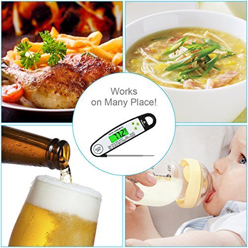 PHILORN Meat Thermometer | FDA Approval – IP64 Waterproof | Instant Read Digital Cooking Thermometer with Folding Probe, Backlit Screen, Magnet for Hanging, Ideal for Kitchen/Grilling/BBQ/Food/Turkey