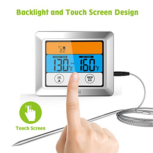 Kohi Digital Meat Thermometer Oven Thermometer Timmer with 3.2″ Large Color Touch Screen for Grilling Roasting Turkeys, BBQ, Oven Cooking