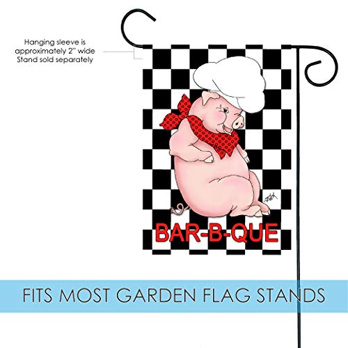 Toland Home Garden BBQ Pig 12.5 x 18 Inch Decorative Summer Barbecue Grill Chef Hat Garden Flag