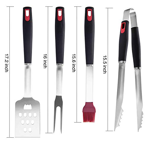 HAMFIRMI Grilling Tools Set 4-Piece Stainless Steel Barbecue Accessories,Outdoor BBQ Cooking Utensils Spatula, Fork, Cleaning Brush & Tongs, Gift Box Package.