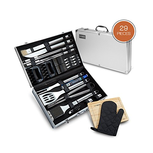 Vysta 29 Piece BBQ Tools Set – Barbecue Accessories with Carrying Case – Professional Grade Stainless Steel Grill Utensils – Spatulas, Tongs, Forks Skewers, Knives, Brushes and More