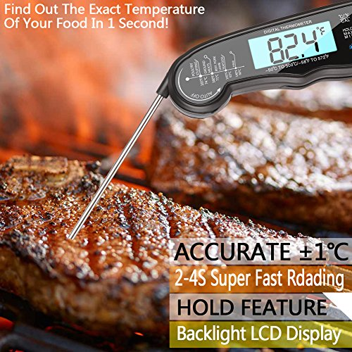 CHLEBEM Digital Meat Thermometer Instant Read (2-4s) for Grilling Cooking Food BBQ or Candy,Wireless Waterproof for Kitchen,Oven,Grill,Water,Beer,Milk, Bath Water Probe,Steak, Indoor Outdoor
