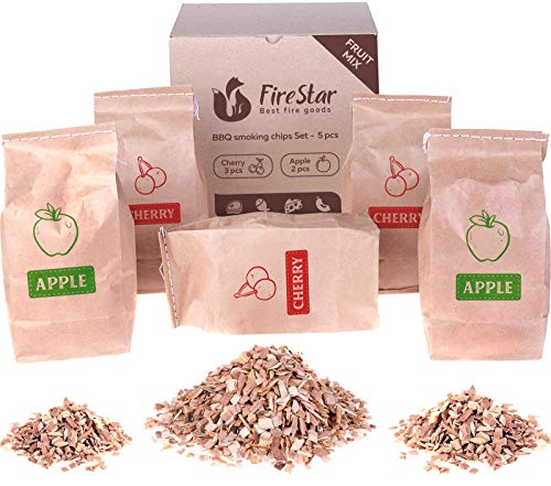 Apple wood chips 2 pc + Cherry wood chips 3pc – Wood chips for smoking and grilling – Smoker wood chips 5 pc in box – wood chips for charcoal, gas and electric smokers