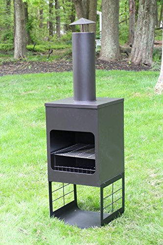 Oliver and Smith – Large Iron Outdoor Round Patio Chiminea Fireplace Rear Fire Shield – 18″ x 18″ x 46″ Tall – with Stainless Steel Grill – Chiminea Weather Cover – 4 Skewers
