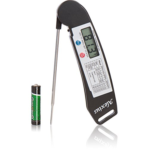 Alexius Digital Instant Read Meat Thermometer, For Cooking, BBQ, Grilling, Kitchen; Best For Steak, Pork, Chicken, Fish, Turkey, Wine; + Batteries Included (Black)