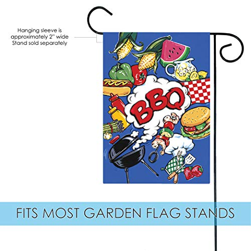 Toland Home Garden BBQ 12.5 x 18 Inch Decorative Summer Picnic Grill Barbecue Burger Melon Double Sided Garden Flag