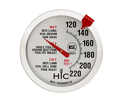 HIC Harold Import Co. 29007 HIC Roasting Meat Poultry Ham Turkey Grill Thermometer, Oven Safe, Large 2-Inch Easy-Read Face, Stainless Steel Stem and Housing