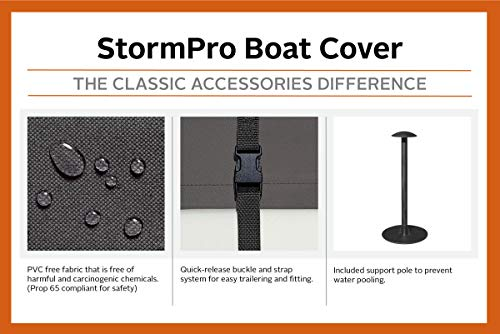 Classic Accessories StormPro Heavy Duty Boat Cover With Support Pole For V-Hull Runabouts, For 17′ – 19′ L Up to 102″ W