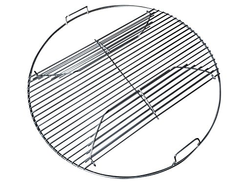 """Grillvana 22 Inch 201 Stainless Steel 4mm Hinged Grilling/Cooking Replacement Grate for Weber 22"""" grill grate – For use in 22″ Weber Charcoal Grills – Cool Present for Him, Man Gift"""