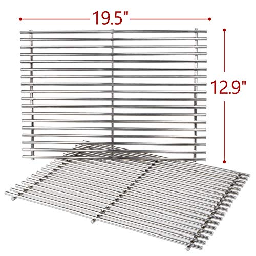 SHINESTAR 7528 Stainless Steel Grill Grates for Weber Genesis 300 Series, Genesis E310/S310/E320/S320, Grill Parts Cooking Grids (19.5 x 12.9 Each, 2pcs) Replace Weber 7528