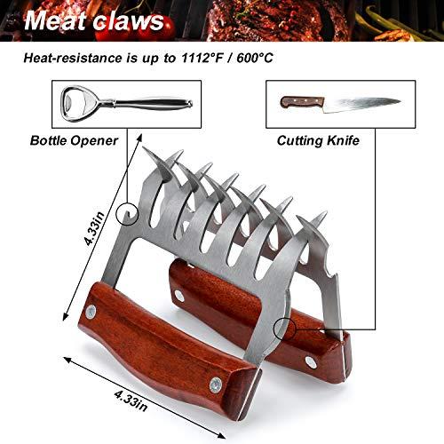 ZOUTOG Griddle Accessories, 8 Piece Tool Kit for BBQ Grill, Restaurant Grade, 2 Spatulas, 1 Chopper Scraper, 1 Burger Flipper, 2 Meat Claws, 2 Squirt Bottles