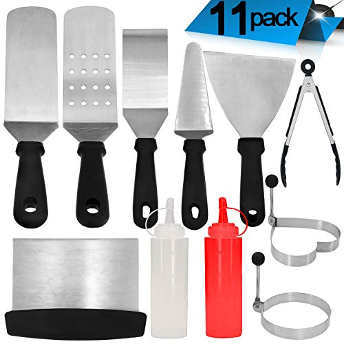Roffel Griddle Accessories – 11 Pcs Professional Heavy Duty Stainless Steel BBQ Spatula Grill Tool Set for Flat Top Cooking, Camping and Tailgating