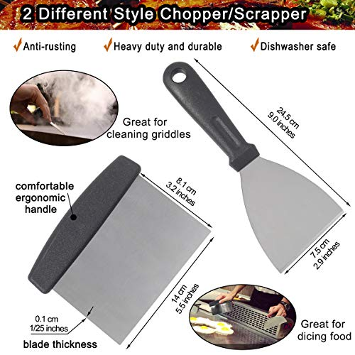 POLIGO Professional Spatula Set in Packing Box – 10pcs Commercial Grade Stainless Steel Griddle Accessories Set for Flat Top Cooking Teppanyaki Grill – Metal Tool Set for Men