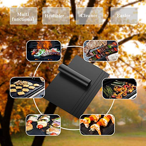 LauKingdom BBQ Grill Mats, FDA Approved Non-Stick,Heavy Duty, Reusable, and Easy To Clean Grill Accessories Gift for Barbeque set of 5