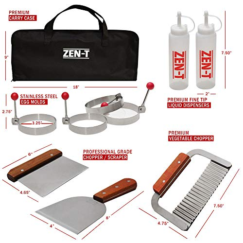 ZEN-T – 16 Piece Grill Griddle BBQ Tool Kit – Heavy Duty Professional Grade Stainless Steel BBQ Tools – Perfect Grilling Utensils for All Your Grilling Needs – Outdoor and Indoor BBQ Accessories