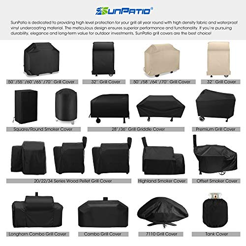 SunPatio Outdoor Charcoal Offset Smoker Cover, Heavy Duty Waterproof Barrel Smoker Cover, UV Resistant Barbecue Grill Cover, Weather Protection for Brinkmann Trailmaster, Char-Broil, Dyna-Glo, Black