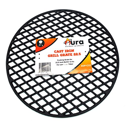 Aura Outdoor Products Cast Iron Grill Grate for 22 Inch Weber Kettle Grill – Works Great on The Weber Kettle, Weber Performer, Barrel Grills – Better Sear Marks