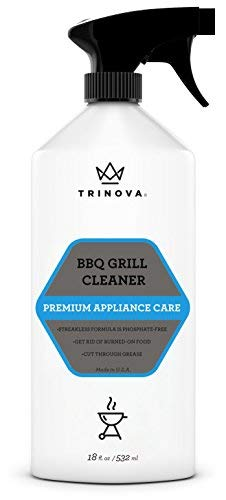 TriNova Grill Cleaner Spray for BBQ – Cleaning Solution for Grate on Gas, Wood, Oil, Stone, Brick, or Propane. Professional Strength and Safe 18oz