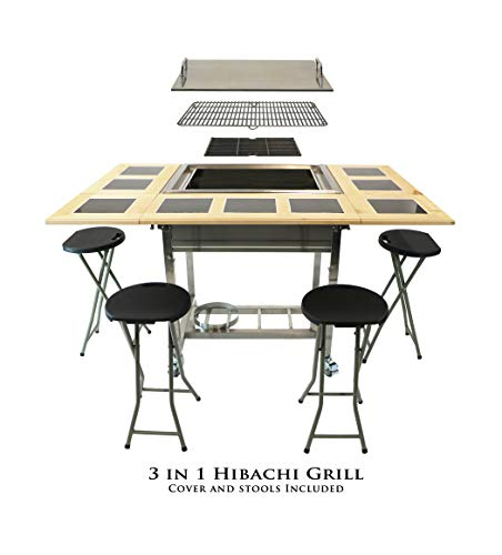 My Hibachi BBQ HBC1B Outdoor 3-in-1 Sit Around Propane w/Flat Top Teppanyaki Griddle, BBQ Rack & Cast Iron Portable for Tailgating Grill