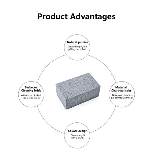 Fullyy Grill Cleaning Brick Block, Commercial Grade Pumice Stone Tool Cleans & Sanitizes Restaurant Flat Top Grills or Griddles Without Harsh Chemicals or Abrasives