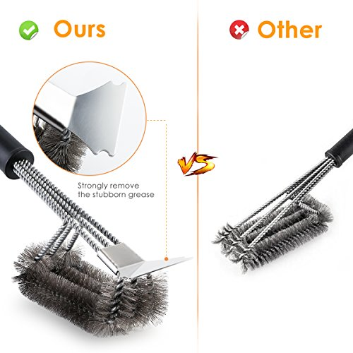 Grill Brush and Scraper Tapbole Best BBQ Brush Cleaner, Safe 18″ Stainless Steel Woven Wire 3 in 1 Bristles Heavy Duty Cleaning Brush, for Weber Gas/Charcoal Grill, Gifts for Grill Wizard – UPGRADE
