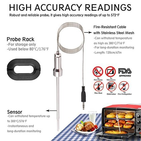 Bluetooth/Wireless Remote Digital Cooking BBQ thermometer Grill Thermometer  Meat thermometer for barbecue,Oven,Somker Large LCD Display Support IOS