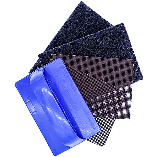 Upper Midland Products Griddle Cleaning Kit Commercial Grade, Includes Two Restaurant Grade Cleaner Pads, Two Grill Screens and one Polish pad Scrubber Holder