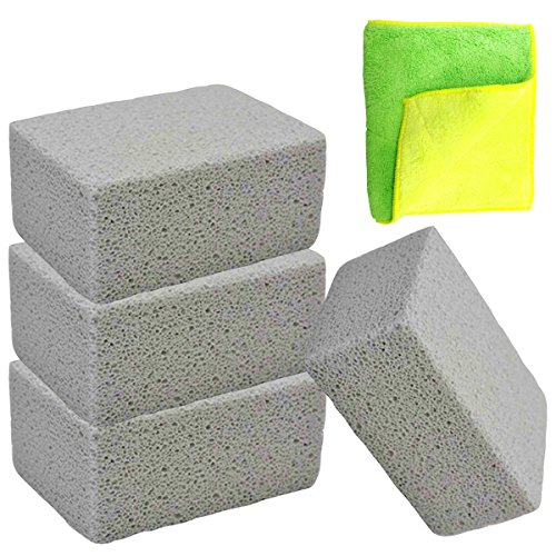 Senneny 4 Pack Grilling Stone Cleaner, 100% Ecological Grill Cleaning Brick, Reusable De-Scaling Stones, Removes Encrusted Greases, Stains, Residues and Dirt
